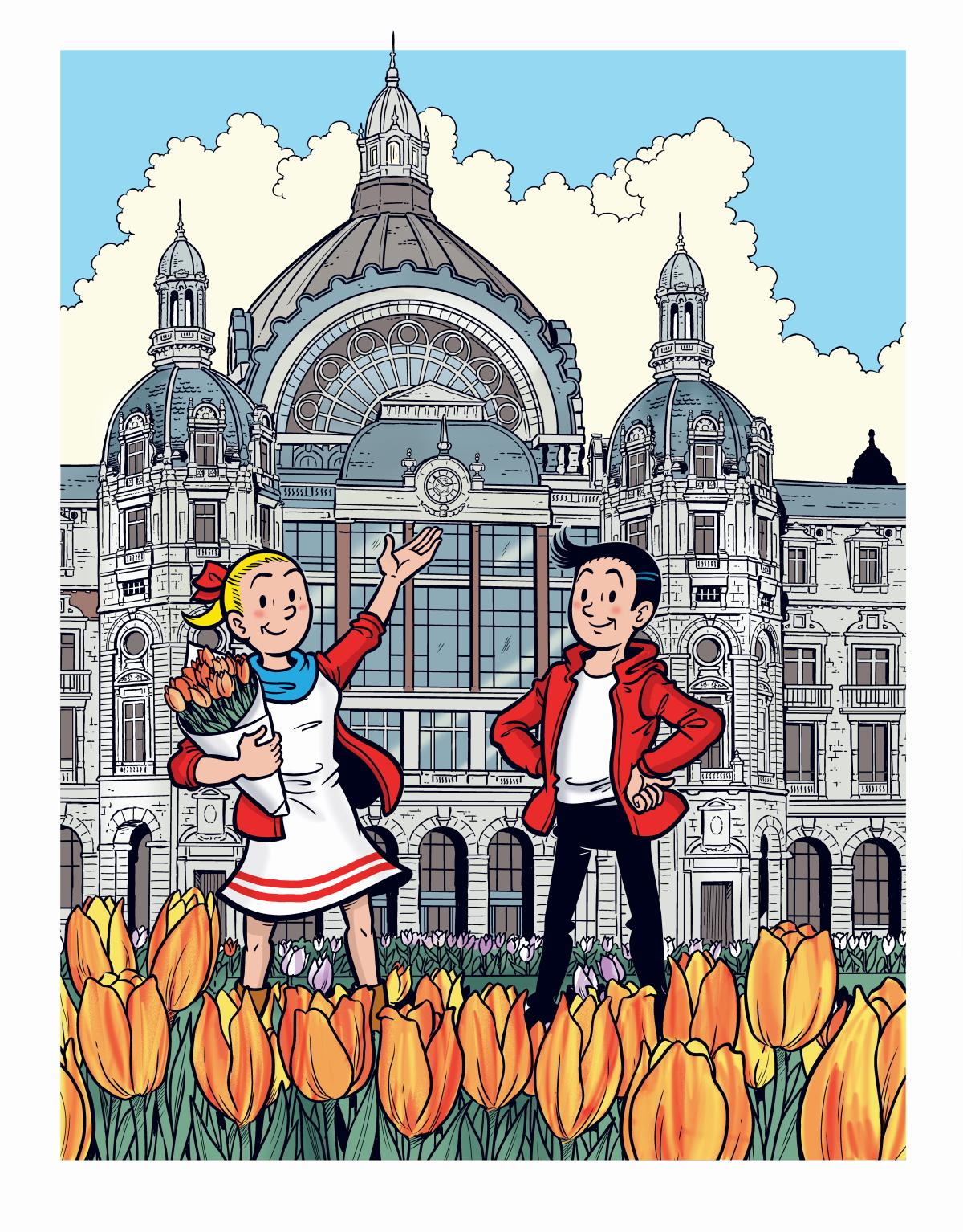 Gratis Pluktuin met Vlaamse tulpen Lente Antwerpen Centraal Station Koning Astridplein Suske en Wiske strip kleurplaat Fence Tuinmagazine inspiratie evenement activiteit kinderen gezin